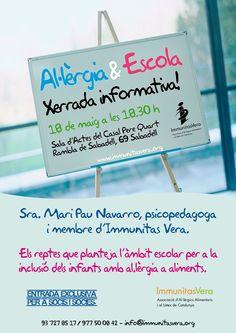 """Xerrada """"Al·lèrgia i escola"""", per Mari Pau Navarro, psicopedagoga i membre d'Immunitas Vera. Els reptes que planteja l'àmbit escolar per a la inclusió dels infants amb al·lèrgia a aliments"""