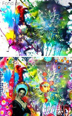 couleurs et mixed media: 2 Créatives et 4 mains  pour un super défi !