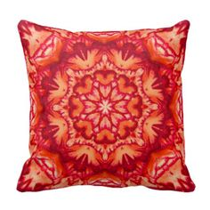 Neon Orange and Burgundy Victorian Floral Pillow
