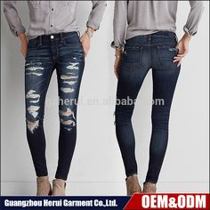 06e7f5e61a3e8 Popular Hot Sale Casual Women Ripped Washed Denim Jeans Pants Wholesale  Custom Blank Skinny Leggings Jeans Trousers For Lady