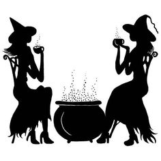 Witch's Tea Time Silhouette with Cauldrom. For Halloween or Witchy Crafts! The Witches Closet. Casa Halloween, Holidays Halloween, Halloween Crafts, Happy Halloween, Halloween Decorations, Halloween Ideas, Halloween Drinks, Halloween Costumes, Witch Silhouette