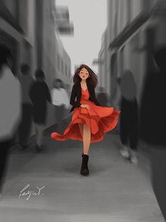 The Careless Walk - Art Print - Illustration - Concept Art - Wall Decor - Red Dress - Woman's Day - Peijin Girl Cartoon, Cartoon Art, Alone Art, Buch Design, Digital Art Girl, Cute Cartoon Wallpapers, Wow Art, Anime Art Girl, Aesthetic Art
