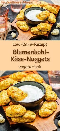 Low Carb Blumenkohl-Käse-Nuggets - gesundes, vegetarisches Hauptgericht Low-carb recipe for cauliflower cheese nuggets - vegetarian dinner or lunch, low-calorie, low-calorie, healthy and ideal for losing weight carb lunch recipes Cauliflower Cheese, Cauliflower Recipes, Low Carb Appetizers, Appetizer Recipes, Mexican Appetizers, Quick Easy Meals, Easy Dinner Recipes, Lunch Recipes, Low Carb