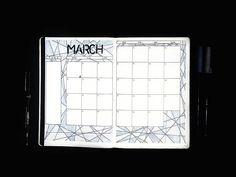 Bullet journal monthly calendar,  geometric drawings, bullet journal grid calendar. | @plain.planner