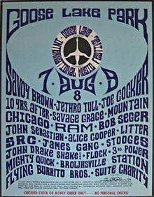 The infamous Goose Lake Festival Joe Cocker was in rehab abd Alice was a no-show but the rest of this amazing line up was there and rollin! Festival Posters, Concert Posters, Rock Posters, Savage Grace, John Sebastian, Iggy And The Stooges, Jethro Tull, Joe Cocker, Rock Festivals