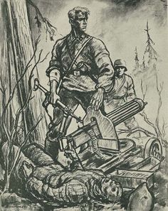 Finn Wigforss was a famous Norwegian artist who served as a war correspondent with Den Norske Legion on Leningrad Front in These graphic sketches deal with the activities on Leningrad Front and are based on true events. Viking Rune Meanings, Tank Wallpaper, Germany Ww2, Art Folder, World War One, German Army, Military Art, Character Drawing, Historical Photos