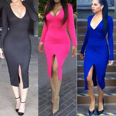 New Plus Size Autumn Long Sleeve Women Casual  Sexy Club Bandage Dresses Vestido #Generic #Sexy #Clubwear