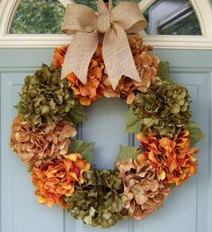 Fall Wreath  Fall Hydrangea Wreath  Fall Hydrangea by countryprim, $49.00