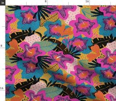 Modern exotic design of tropical flowers and colorful leaves. abstract, beach, tropical, botanic, collage, modern, exotic, floral, flower, whimsical, hand, painted, hawaii, summer, plant, hibiscus, spring, texture, decoration, interior, design, quilt, art, fabric, textile