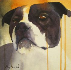 Watercolor of my staffy Axel