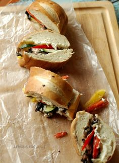 Veggie Melt Sandwich; a sub sandwich bursting with veggies and a cool, creamy flavorful filling.