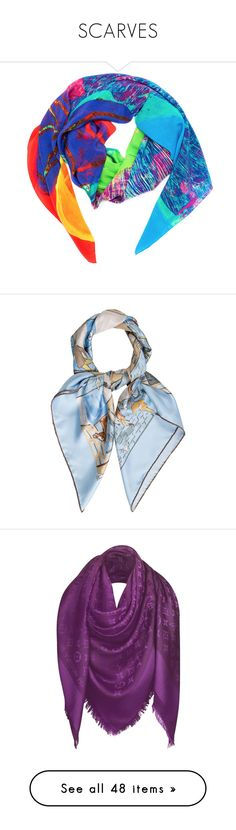 """SCARVES"" by katya-ukraine ❤ liked on Polyvore featuring accessories, scarves, patterned scarves, pure silk scarves, silk scarves, print scarves, silk shawl, blue, hermes scarves and colorful scarves"