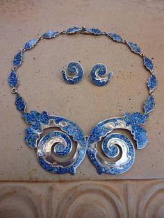 Margot de Taxco Mexico Sterling Enamel Confetti Necklace & Earrings