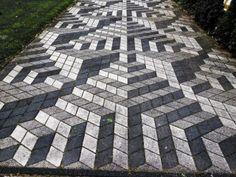 Garden path in Odijk. Paver Patterns, Floor Patterns, Brick Sidewalk, Pavement Design, Paver Blocks, Brick Pathway, Paving Design, Paving Ideas, Brick Masonry