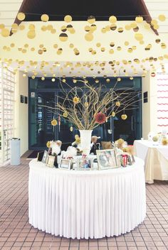 Glitter gold garlands across top of space
