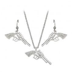 Montana Silversmiths Silver Pistols with Rhinestone Handles Jewelry Set