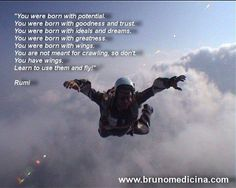 """""""You were born with potential. You were born with goodness and trust. You were born with ideals and dreams. You were born with greatness. You were born with wings. You are not meant for crawling, so don't. You have wings. Learn to use them and fly!"""" Rumi  https://www.facebook.com/bruno.medicina.1?fref=ts"""