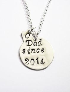 Personalized Dad Necklace Silver Initial Charm by RobertaValle
