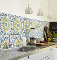 Yellow and blue Moroccan tile backsplash