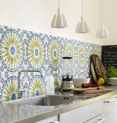 Yellow and blue Moroccan tile backsplash
