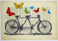 A tandem bike, surrounded by butterflies, printed on weathered text.  What's not to love?