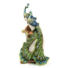 Amazon.com - Colorful Couple Peacock Perching Together Figurine -