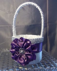 Ivory Flower Girl Basket with Amethyst Purple Flower and Rhinestone Mesh handle and Trim. $50.00, via Etsy.