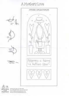 A Mother's Love Hand Embroidery Projects, Embroidery Works, Hand Embroidery Patterns, Applique Patterns, Applique Quilts, Applique Designs, Embroidery Applique, Cross Stitch Embroidery, Quilt Patterns