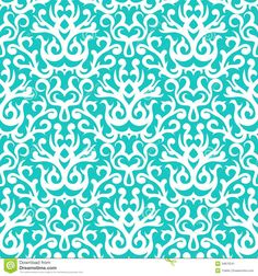 Damask Pattern In White On Turquoise - Download From Over 29 Million High Quality Stock Photos, Images, Vectors. Sign up for FREE today. Image: 34875241