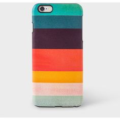 Paul Smith Artist Stripe Leather iPhone 6 Plus Case (51.470 CRC) ❤ liked on Polyvore featuring accessories and tech accessories