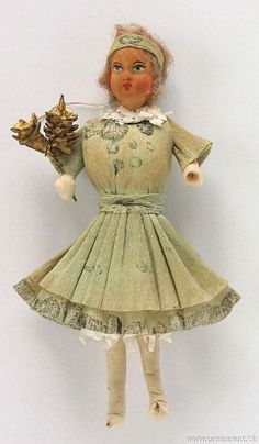 Girl with flowers, spun cotton