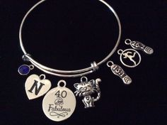 CUSTOM 40 and Fabulous Happy 40th Birthday Expandable Charm Bracelet Adjustable Bangle Gift