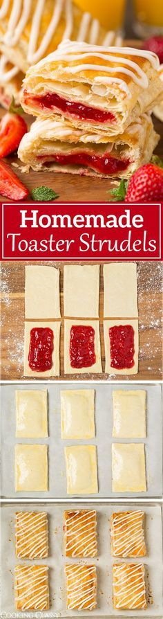Easy Breakfast Recipes: Homemade Toaster Strudels - these are SO much better th., Breakfast Recipes: Homemade Toaster Strudels - these are SO much better than the store bought kind! Love all those flaky layers and the icing is . Breakfast And Brunch, Breakfast Dishes, Breakfast Healthy, Healthy Snacks, Breakfast Cake, School Breakfast, Breakfast Pastries, Homemade Breakfast, Breakfast Casserole