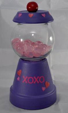 Valentines Day Gumball Machine - Valentines Day Candy Dish - Valentines Day Cookie Jar - Decorative Decanter - Candy Bubble Gum Machine Look by CrazyCraftersFun on Etsy