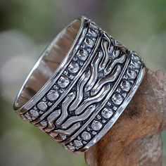 Men's Handcrafted Sterling Silver Band Ring - Water | NOVICA
