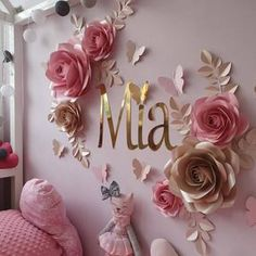 Paper Flowers Craft, Paper Flower Wall, Flower Wall Decor, Rose Gold Christmas Decorations, Flower Decorations, Nursery Wall Decor, Baby Decor, Diy Wall Decor, Flower Nursery