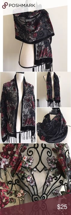 Gorgeous Velvet shawl Beautiful floral detail with velvet and sheer material has hanging tassels lovely item wear as a scarf or wrap! this is EUC ITEM no flaws!! ❤BUNDLE & SAVE 15%❤️ Accessories Scarves & Wraps