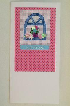 Pretty window cross stitch card handmade original design with the wording 'Just for you' by PosieAndMarmalades on Etsy