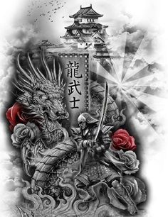 Japanese Temple Tattoo, Japanese Dragon Tattoos, Japanese Tattoo Art, Japanese Tattoo Designs, Japanese Sleeve Tattoos, Samurai Back Tattoo, Cyborg Tattoo, Transférer Des Photos, Spiderman Tattoo