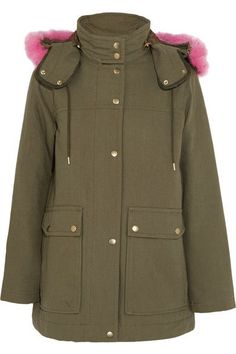 Army-green cotton-canvas, pink faux fur Snaps and concealed zip fastening through front Fabric1: 100% cotton; fabric2: 100% wool; fabric3: 61% modacrylic, 26% acrylic, 13% polyester; filling1: 100% polyester; filling2: 70% down, 30% feathers (Waterfowl); lining: 100% polyester Dry clean Designer color: Wasabi Imported