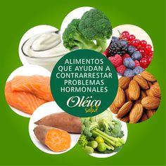 """""""7 ALIMENTOS PARA REDUCIR LOS PROBLEMAS HORMONALES""""  Brócoli, camotes, salmón, yogurt griego, bayas, almendras y verduras de hoja verde.  #Superfood #Saludable"""