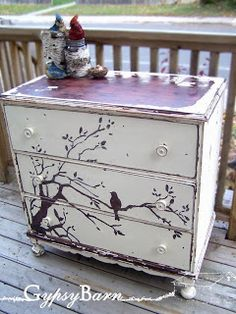 Artistically painted chest of drawers dresser with bird on tree branch, chic shabby cottage style Decoupage Furniture, Hand Painted Furniture, Funky Furniture, Refurbished Furniture, Paint Furniture, Repurposed Furniture, Shabby Chic Furniture, Furniture Projects, Furniture Makeover