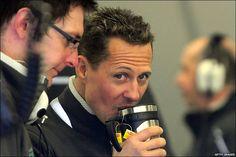Michael Schumacher, seven-time Formula One World Champion, drinking Lipton.