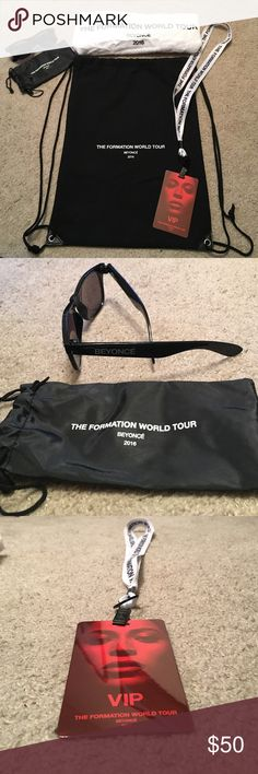 Beyoncé Formation VIP Swag Bag VIP swag back from Beyoncé formation tour - includes black drawstring bag, white and black Lanyard with red VIP pass, white towel, black Beyoncé sunglasses and black sunglass holder. Towel is a little wrinkled but never used Beyonce Accessories