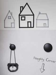 Huisjes op de muur met masking tape | Houses made with washi tape #kids #diy #kidsroom