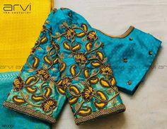 Stunning sky blue color designer blouse with floret lata design hand embroidery thread and bead work. Wedding Saree Blouse Designs, Pattu Saree Blouse Designs, Best Blouse Designs, Simple Blouse Designs, Stylish Blouse Design, Designer Blouse Patterns, Blouse Models, Hand Embroidery, Embroidery Designs