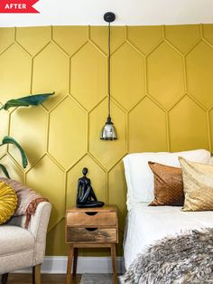 unique home accents Before and After: A Bedroom Redo with a Unique DIY Budget Accent Wall Home Design, Apartment Therapy, Yellow Accent Walls, Wood Accent Walls, Yellow Accents, Pinterest Inspiration, Stickers Design, Accent Wall Designs, Wall Designs For Bedroom