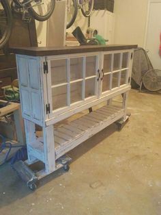 Upcycled Furniture Cabinet Old Windows Ideas Repurposed Furniture, Rustic Furniture, Painted Furniture, Diy Furniture, Repurposed Shutters, Furniture Online, Furniture Companies, Furniture Design, Furniture Projects
