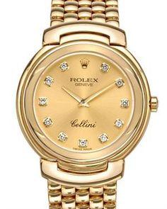 Rolex NIB Cellini Factory Diamond 18K Gold Women's Watch