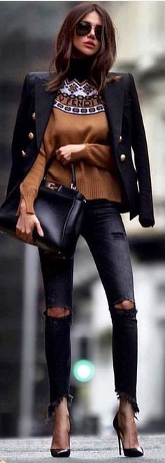 #winter #outfits black blazer with distressed black denim fitted jeans
